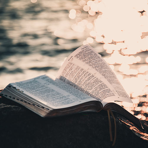 Bible on a rock near the sea